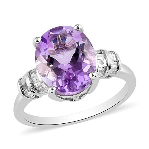 TJC Natural Amethyst Solitaire Ring for Womens in Platinum Plated 925 Sterling Silver Valentine's Day Gift/Engagement Jewellery Size R with White Diamond, TCW 0.24ct
