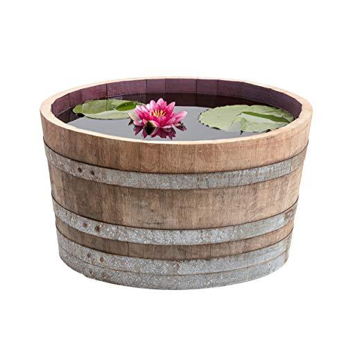 Temesso Demi-tonneau de vin en Bois de chêne- pôt de Fleurs ou Mini-étang (Mini-étang)