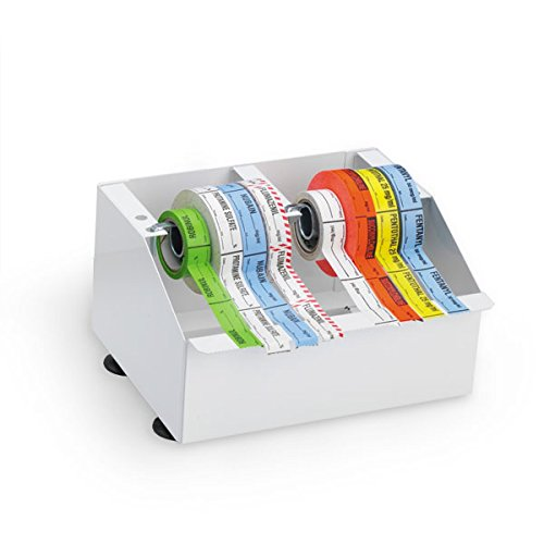Metal Medication Label Tape Dispenser Holds 8 Rolls