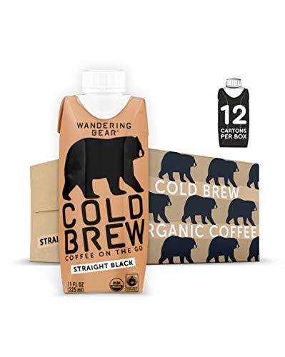 Wandering Bear Extra Strong Organic Cold Brew Coffee On-the-Go, Straight Black, 11 fl oz, 12 pack - Smooth, Organic, Unsweetened, Shelf-Stable, and Ready to Drink