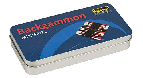 Idena 40108 Mini gioco Backgammon in pratica scatola di metallo per la conservazione e per il trasporto, campo da gioco, 32 pietre da gioco e 3 dadi,