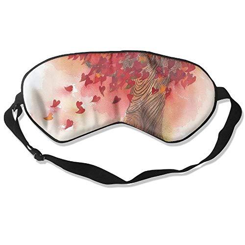 Schlaf-Augenmaske, Baum, Herz, Blätter, leicht, weich, verstellbar, Kopfband, Augenklappe, Reise-Augenklappe, E1