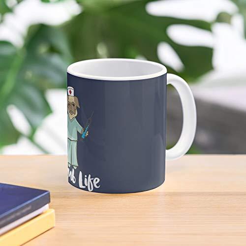 Pug Nursing Scrub Dog Lvn Pet Nurse Life Best 11 Ounce Ceramic Coffee Mug Gift