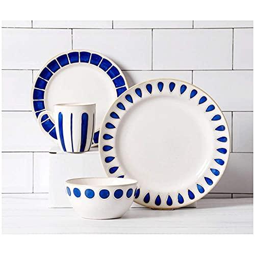 Vajilla de CeráMica Azul con Blanco, Juego de Vajilla de 4 Piezas, Cuenco de Porcelana Para Tazas, Apilable Redondo Para Ahorrar Espacio