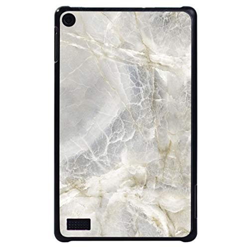 for Amazon Fire 7 (5/7/9th Gen,2015 2017 2019 Release) with -Tablet PC Plastic Marble Pattern Slim Stand Case Cover,Grey Marble