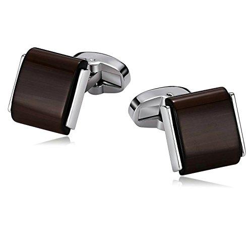 SonMo 1 Paar Manschettenknopf Edelstahl Herren Rechteck mit Stein Manschettenknöpfe Herren Personalisiert Dunkelbraun 1.5×1.6 cm Elegante