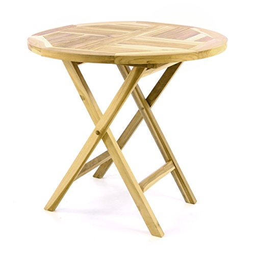 Divero Gartentisch Balkontisch Tisch Esstisch Holz Teak klappbar Ø 80 cm rund Natur