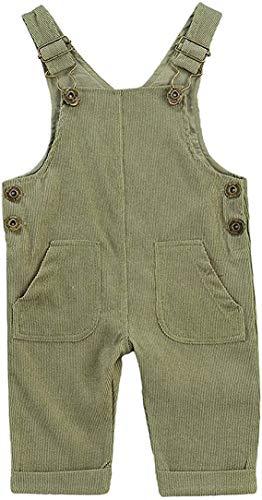 Carolilly - Mono de beb con botones, pantaln ancho de color liso, con bolsillos completos con hebilla ajustable Verde 0-6 Meses