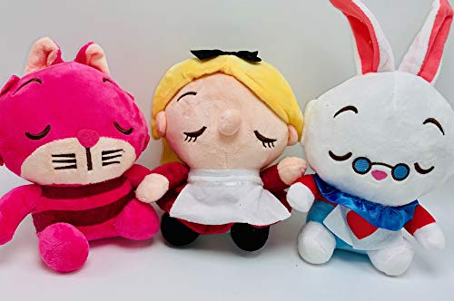 Plush Alice in Wonderland 3 Piece Doll Set Featuring Alice, Cheshire Cat, and White Rabbit