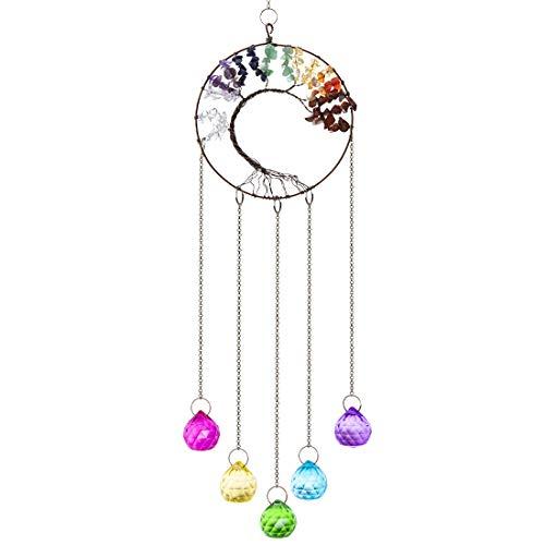 H&D HYALINE & DORA Kristall Regenbogen Sonnenfänger, Glasbaum des Lebens Anhänger, hängende Fenster Ornament(bunt)