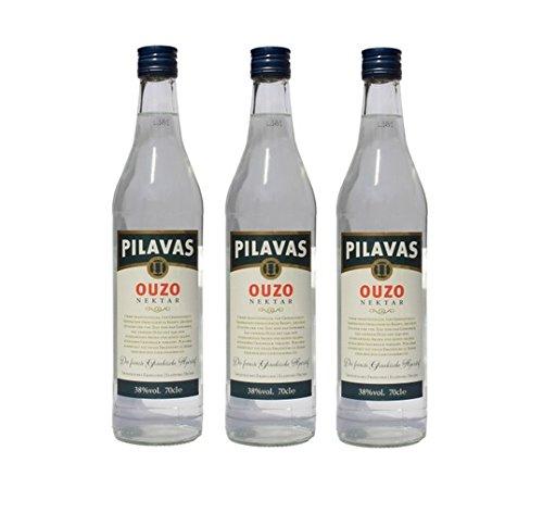3x Ouzo Nektar Pilavas 40% Vol. 3 Flaschen a 700 ml Set Griechenland griechischer Anis Schnaps Trester Destillat + 2 Probier Sachets Nescafe Frappe von Neste Hellas