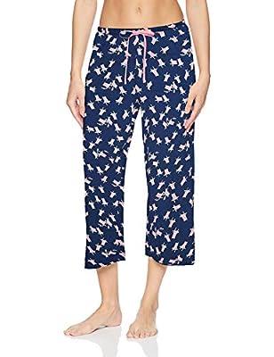 HUE Women's Printed Knit Capri Pajama Sleep Pant, Medieval - Beach Chair, Large from HUE