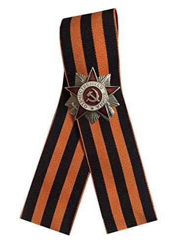 Ganwear St. George Ribbon 9. Mai WW2 Russischer Tag des Sieges - Silberfarbener Orden des Großen Vaterländischen Krieges Miniatur-Anstecknadel