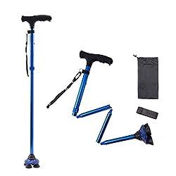 cheap Folding Big Alex cane with LED lighting, rotatable quad base, adjustable cane …