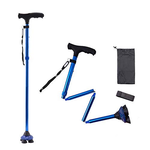 BigAlex Folding Walking Cane with LED Light,Pivoting Quad Base,Adjustable Walking Stick with Carrying Bag for Man/Woman (MG Alloy Base(Blue))