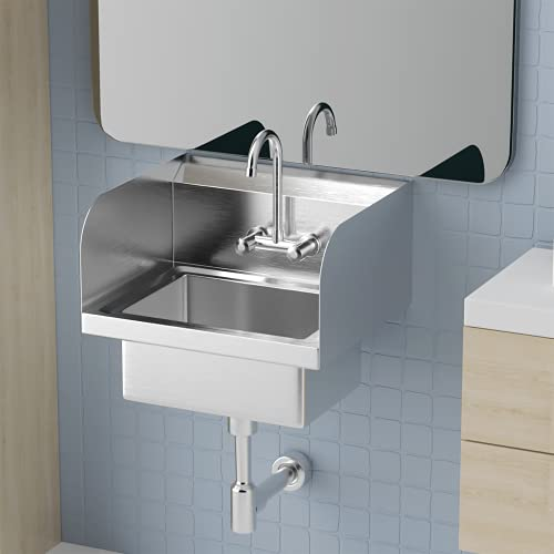 """Bonnlo Upgraded Commercial Stainless Steel Perp/ Bar Sink Hand Wash Sink - Wall Mount Hand Washing Basin Commercial Kitchen Heavy Duty with Faucet 17"""" W x 15"""" D x 14"""" H (With Side Splash)"""