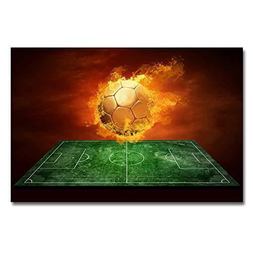 N / A Impresión en Lienzo Pintura Moderna Fuego fútbol Deportes Pared Arte Cartel e Impresiones Fotos para Sala de Estar decoración del hogar40x60cm
