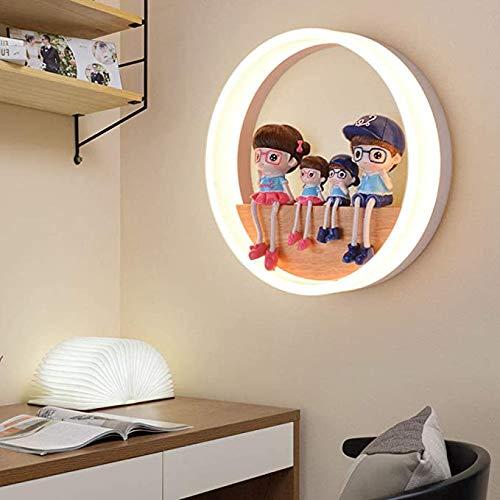 Kinderen wandlamp LED warm-ring wandlamp hout en acryl witte binnenwand lichten decoratieve wandlamp voor de slaapkamer Dining Room Young Girls,A