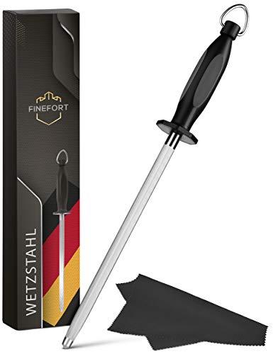 Finefort Wetzstahl für Messer - Premium Wetzstab inklusive Reinigungstuch und Tipps & Tricks - Messer Abzieher mit ergonomisch geformtem Griff (schwarz)