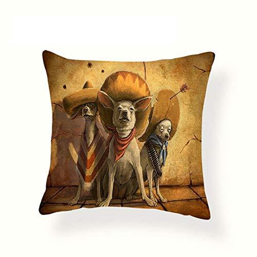 Linda Funda de Almohada Peluda Schnauzer Beagle Bulldog Almohada Cuadrada sofá Decorativo Funda de cojín de poliéster 40 × 40 cm con núcleo de Almohada