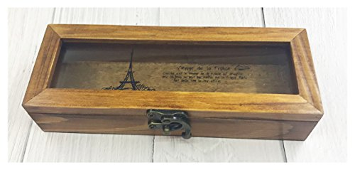 Retro Eiffel Tower Wooden Pencil Case Box Storage Holder Stationery Box for Student Use