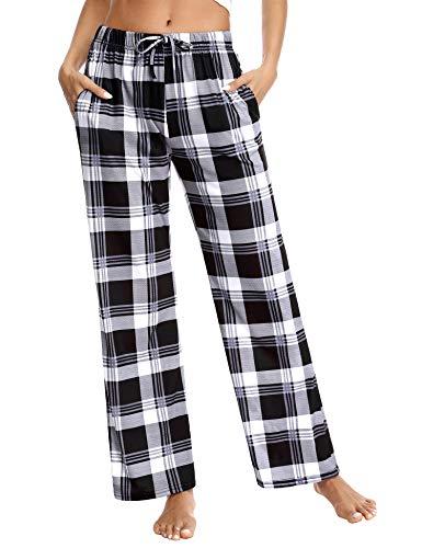 Aibrou Pantalones de Pijama Mujer, Pijama Pantalon Largo Mujer de Cuadros Invierno Suelte Pantalón de Pijama, Pijama Pantalones Mujer de Algodon Cordón para Hogar, Ocio, Deportes, Correr y Yoga