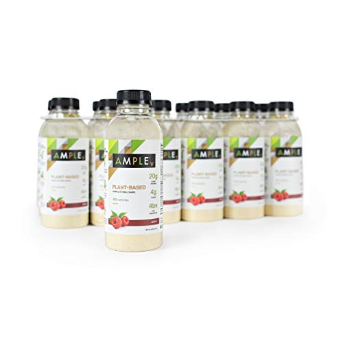 Vegan, Plant-Based Meal Replacement Shake in a Bottle, (Pack of 12) Meals, Regular 400 Calories, Made with Natural Real Food Ingredients. Ample V - Berry