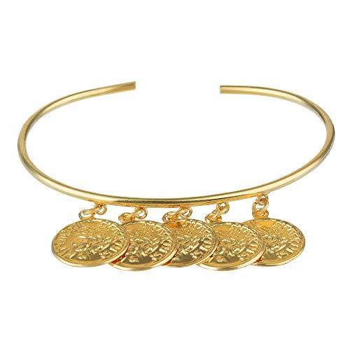 Córdoba Jewels |Pulsera en Plata de Ley 925 con bañada en Oro con diseño Brazalete Denarios Gold