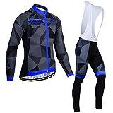 Jersey de ciclismo, juego de bicicletas en bicicleta, juego de pantalones, traje de ciclismo para hombre, ropa deportiva seca rápida, traje para el entrenamiento esquí en marcha caminando,Azul,S