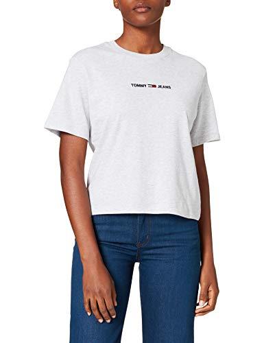 Tommy Jeans TJW BXY Crop Linear Logo tee Camiseta, Gris plateado, S para Mujer