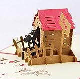 BC Worldwide Ltd hecho a mano 3D pop-up tarjeta casa de perro mascota animal amor país cumpleaños aniversario de boda, día de San Valentín, Navidad, día del padre, día de la madre
