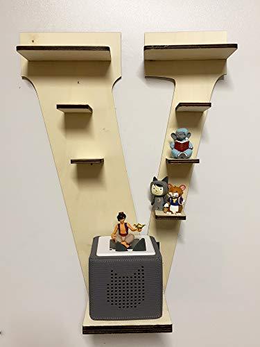DIY Regal Buchstabe A-Z für die Musikbox passend für Toniebox Kinder Baby Zimmer zum selbst bemalen mit Wunschname tolles individuelles Geschenk zum Geburtstag zu Ostern Weihnachten (Buchstabe: V)