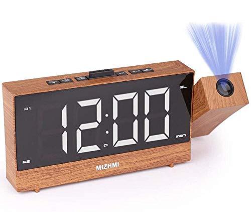 Despertador Digital Despertador Proyector Digital con Cargador USB 3 Atenuadores Interruptor De 12/24 Horas Proyección Giratoria De 180 ° Y Radio FM Temporizador De Sueño