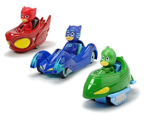 Dickie Toys PJ Masks 3-Pack Set Cars, Auto, Geschenkset bestehend aus: Cat-Car, Owl-Glider und Gekko-Mobil, 7 cm, ab 3 Jahren