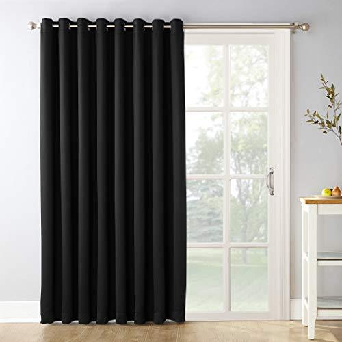 "Sun Zero Easton Extra-Wide Tire three Blackout Sliding Patio Door Curtain Panel with Pull Wand, 100"" x 84"", Black"