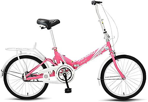 YAOJIA strider kids bike 20 Inch Folding Children Bicycle | Outdoor Bicycle Adjustable Seat, Suitable For Boys And Girls Aged 9-14, Multiple Colour (Color : Pink)
