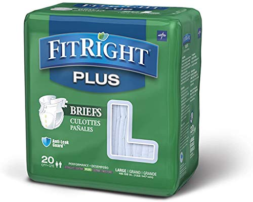 FitRight Plus Adult Diapers, Large, 20 Count (Pack of 4)