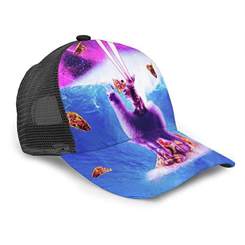 Unisex Baseball Cap Laser Space Cat Riding Surfen Lama Snapback Hüte Trucker Hat Hip Hop Verstellbare Kappen Schwarz