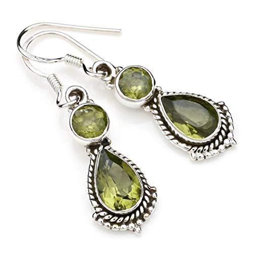 Peridot Ohrringe 925 Silber Sterlingsilber Ohrhänger grün (MOH 115-59)
