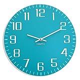 FLEXISTYLE Moderno Reloj de Pared ultrasilencioso FACILE 30 cm, Turquesa, salón, Pasillo, Oficina