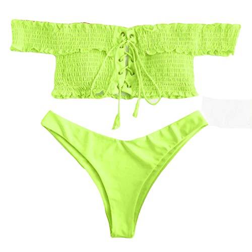 DNOQN Damen Bikini Set Shirred Schnür Bikini Set Badeanzug Push Up Beach Wear Separable Badeanzüge Sport Yoga Fitness 3-Teilig Tankini mit Shorts Strand Bikini Set Beachwear