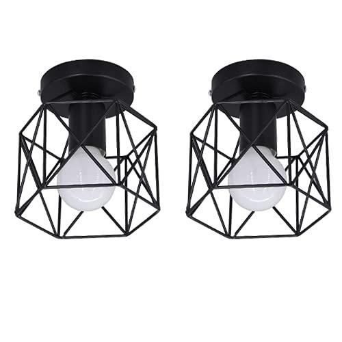 LLY - Lámpara de techo negra vintage industrial, montaje semi empotrado, lámpara de techo, jaula de metal con alambre E27, bombilla para pasillo, dormitorio, cocina, sala de estar…