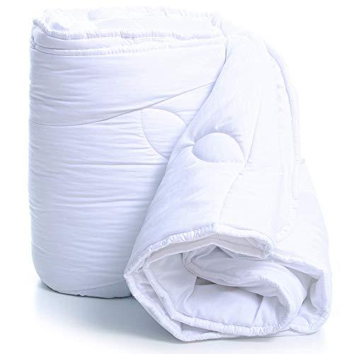 Amazinggirl Bettdecke 140 x 200 Ganzjahresdecke Steppdecken Schlafdecke - Steppbettdecke warm für Allergiker hypoallergen weiß aus Microfaser