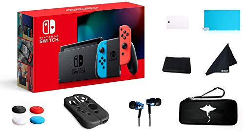 Switch 32GB Console Video Games Joy-Con w/GM 69 Value 13in1 Supper Kit Case (Earphone, LCD Film, Card Case, Silicon Case x 2pcs, Carry Bag, Wiping Cloth etc.) (Blue and Red)
