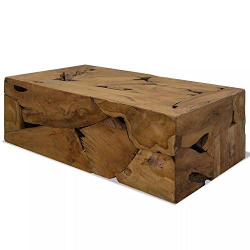 FZYHFA Table Basse 90 x 50 x 35cm en Teck Véritable Table Basse Moderne - Marron
