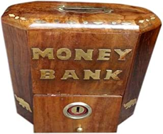 Wooden Money Bank Square Shape Coin Box, Brown Color Dolphin with Lock Coin, Wooden Piggy Bank, Safe Storage Money for Kid...