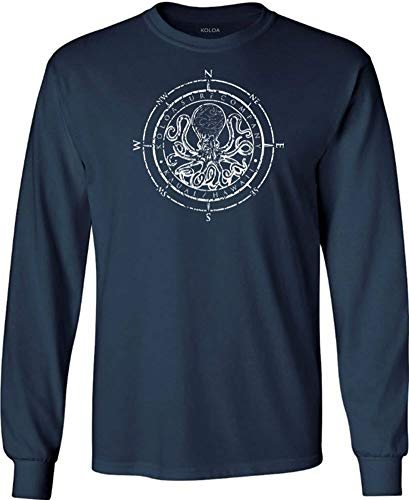 Joe's USA Koloa Octopus Logo Heavy Cotton Long Sleeve T-Shirt-S-Navy/w
