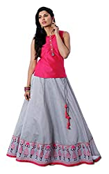 Maybell Grey and Pink Chanderi Circular Skirt with Embroidery Top