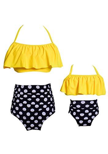 EFOFEI Damen Spaghettiträger Bikini for Mom Swimwear Summer Swim Gelb M