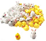 Honkoolly 50 Pcs Mini Bunnies Ducks Miniature Animals Figurines Miniature Garden Decoration Miniature Moss Landscape DIY Crafts Ornament Accessories for Home Decor Dollhouse Miniature,2 Style